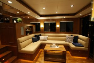 Warm glow of the Explorer 58 Pilot House salon.