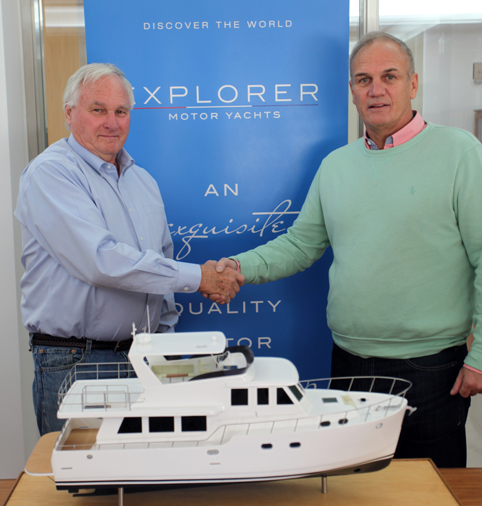 Richard Boland (left) with Explorer Motor Yachts CEO Mark Campion.